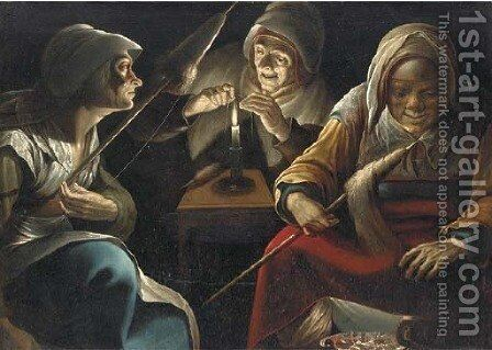 Three women working wool by (after) Matthias Stomer - Reproduction Oil Painting