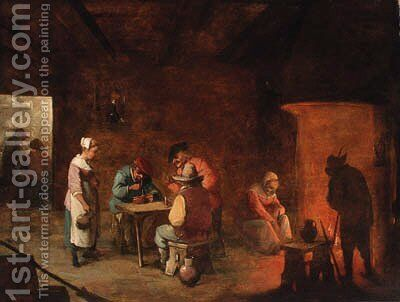 The interior of an inn by (after) Matheus Van Helmont - Reproduction Oil Painting