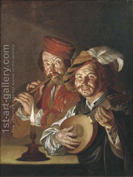 A lute player and a flute player making music by candlelight by (after)  Matthias Stomer - Reproduction Oil Painting