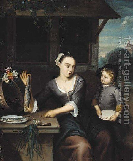 A herring seller by (after) Matthijs Naiveu - Reproduction Oil Painting