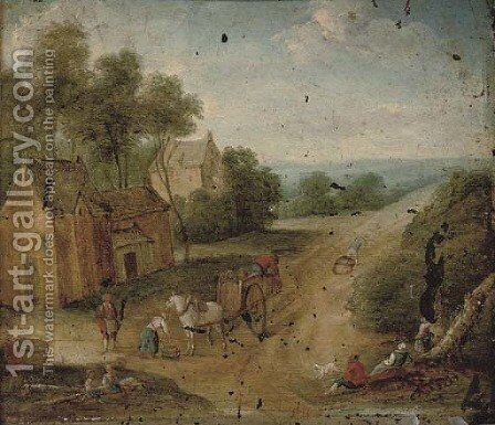 A wooded landscape with figures on horseback by a village by (after) Mattijs Schoevaerdts - Reproduction Oil Painting