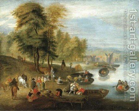 A river estuary with peasants loading barges by (after) Mattijs Schoevaerdts - Reproduction Oil Painting