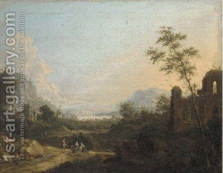 A mountaintous river landscape with figures on a path by classical ruins by (after) Maximilian Joseph Schinnagl - Reproduction Oil Painting