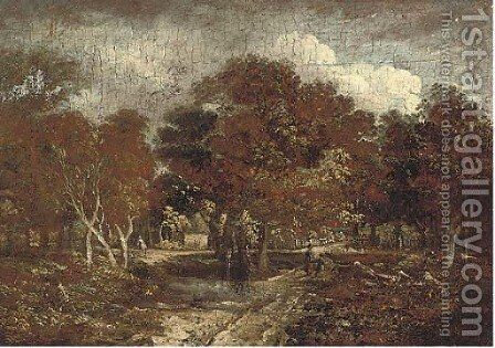 Children in a wooded landscape by (after) Meindert Hobbema - Reproduction Oil Painting