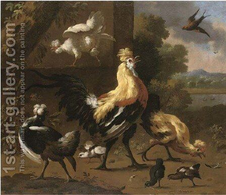 A cockerel and hens in a river landscape by (attr. to) Hondecoeter, Melchior de - Reproduction Oil Painting