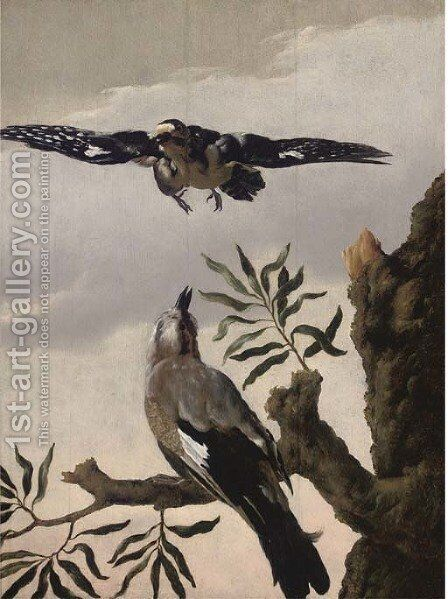 A jay perched on a tree stump and a lapwing flying above by (attr. to) Hondecoeter, Melchior de - Reproduction Oil Painting