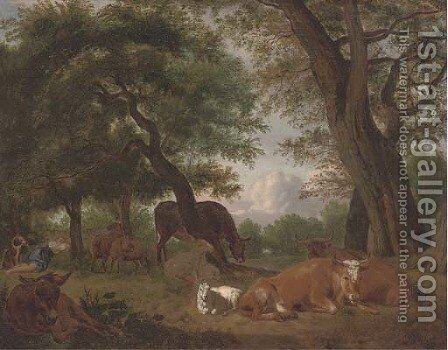 A wooded clearing with a shepherd and cattle resting by (after) Michael Carree - Reproduction Oil Painting