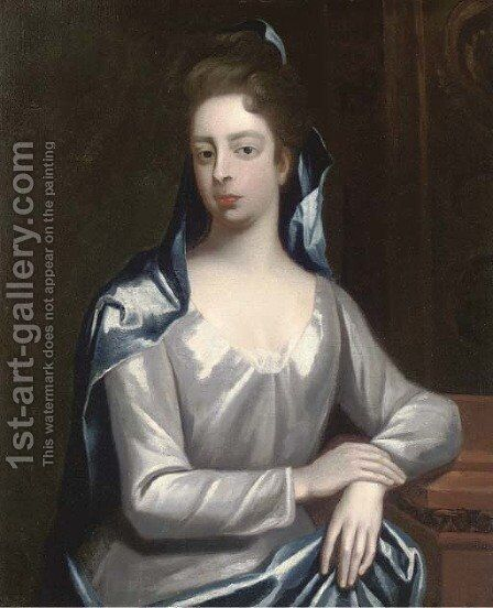 Portrait of Elizabeth Hervey, Countess of Bristol (D.1741), half-length, in a white dress and blue wrap, resting her arm on a plinth by (after) Dahl, Michael - Reproduction Oil Painting