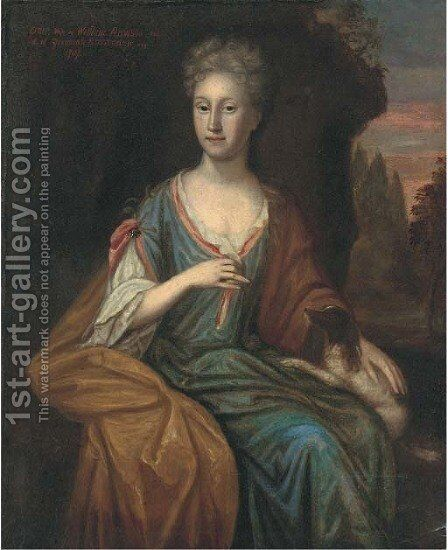 Portrait of Grace Rawson, seated three-quarter-length, in a blue dress, a dog on her knee by (after) Dahl, Michael - Reproduction Oil Painting