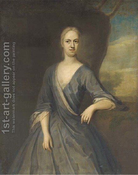 Portrait of Mary Frederick, Mrs Powell, three-quarter-length, in a blue dress, her left arm on a plinth, with a landscape beyond by (after) Dahl, Michael - Reproduction Oil Painting