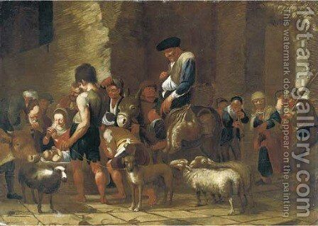 The Adoration of the Shepherds by (after) Michaelanglo Cerquozzi - Reproduction Oil Painting