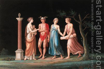 The Nymphs receiving the infant Bacchus from Mercury by (after) Michelangelo Maestri - Reproduction Oil Painting