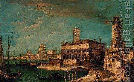 A capriccio of the Venetian lagoon by (after) Michele Marieschi - Reproduction Oil Painting