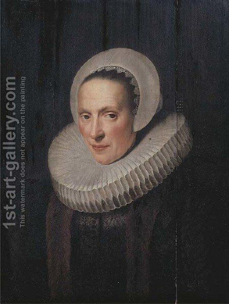 Portrait of Anna van Loon, nee Ruychaver (1573-1649) by (after) Michiel Jansz. Van Mierevelt - Reproduction Oil Painting