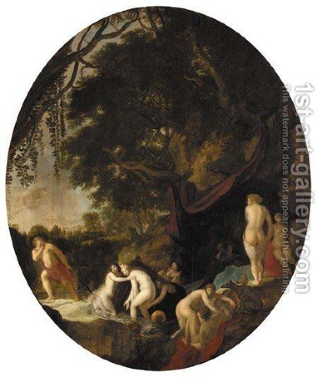 Diana and Actaeon by (after) Moyses Or Moses Matheusz. Van Uyttenbroeck - Reproduction Oil Painting