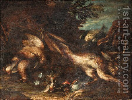 A dead hare, a snipe and songbirds, with a powder bag and game basket in a landscape by (after) Niccolo Cassana - Reproduction Oil Painting