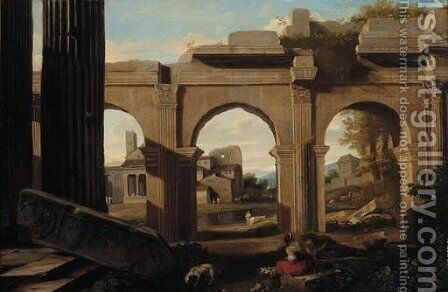 A capriccio of Roman ruins with figures by a lake by (after) Viviano Codazzi - Reproduction Oil Painting