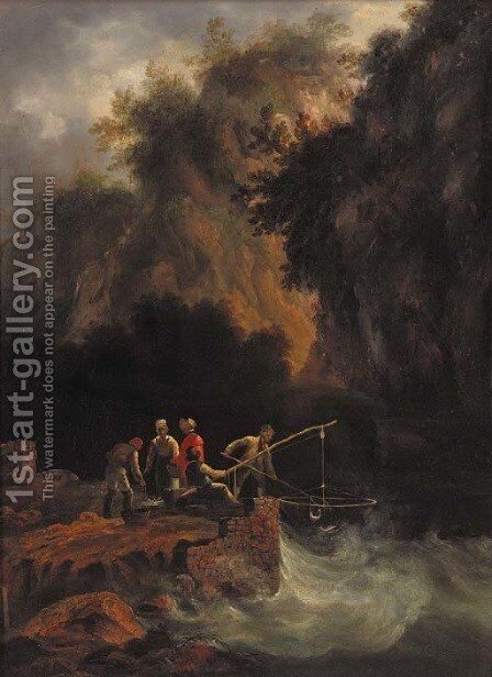 Fishermen netting fish off a rocky ledge in a mountainous wooded landscape by (after) Condy, Nicholas Matthews - Reproduction Oil Painting