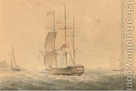 A frigate reefed down in heavy weather by (after) Nicholas Pocock - Reproduction Oil Painting