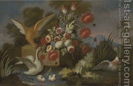 Waterfowl with roses, parrot tulips, chrysanthemums and other flowers on a ledge by a river by (after) Nicola Casissa - Reproduction Oil Painting