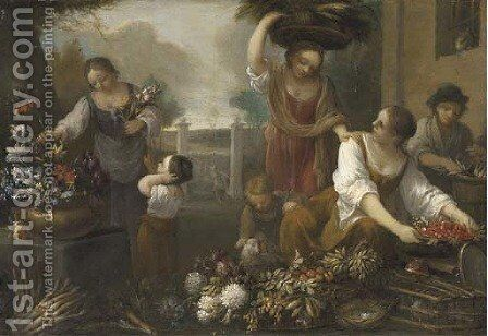 Women and children arranging flowers in the grounds of a building by (after) Nicola Cassisa - Reproduction Oil Painting