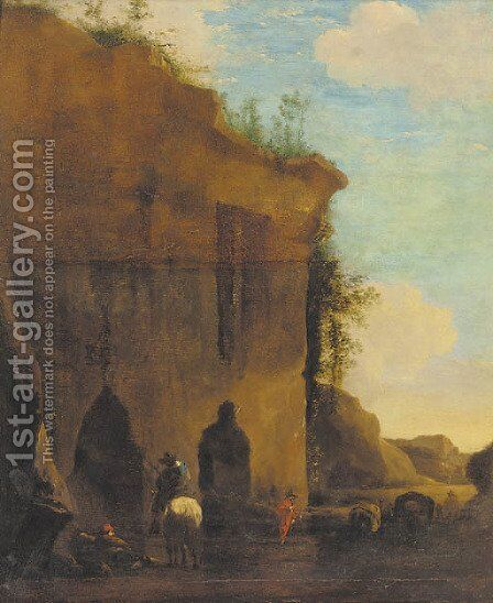 Travellers by a ruin by (after) Nicolaes Bercham - Reproduction Oil Painting