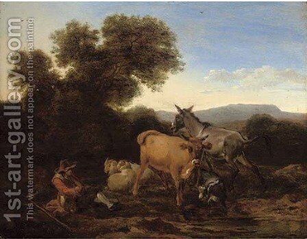 A wooded landscape with a shepherd and his flock resting by (after) Nicolaes Berchem - Reproduction Oil Painting