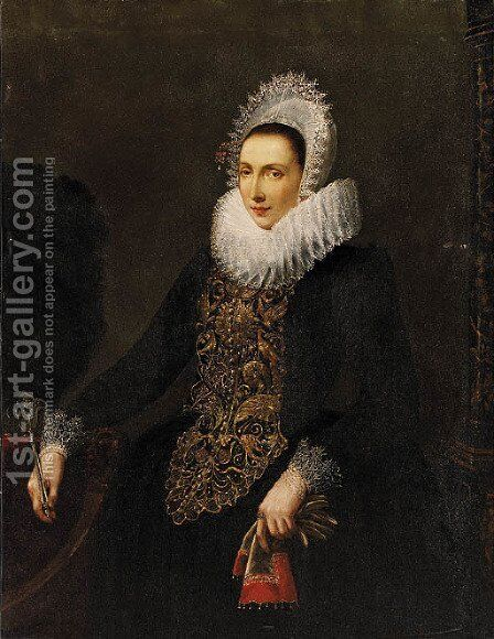 Portrait of a Lady by (after) Nicolaes (Pickenoy) Eliasz - Reproduction Oil Painting