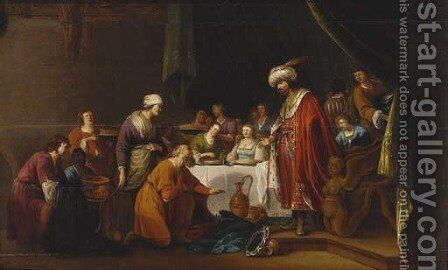 Joseph and Benjamin by (after) Nicolaes Moeyaert - Reproduction Oil Painting