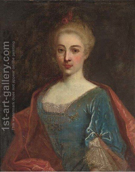 Portrait of a lady, bust-length, in a gold embroidered dress and a red mantle by (after) Nicolas De Largilliere - Reproduction Oil Painting