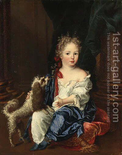 Portrait of a girl with a poodle, full-length, seated, in a white chemise and blue shawl by (after) Largilliere, Nicholas de - Reproduction Oil Painting