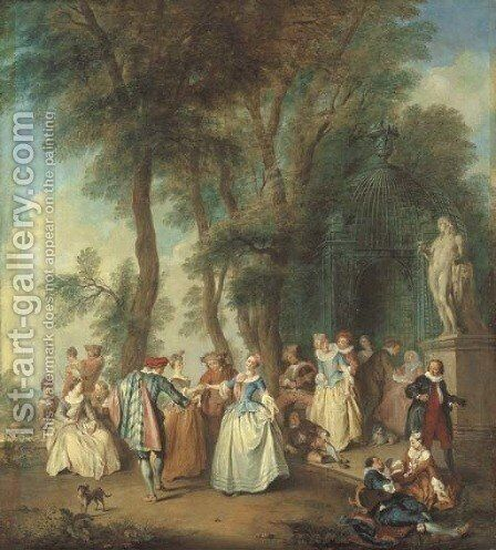 Elegant company dancing before an arbour by (after) Lancret, Nicolas - Reproduction Oil Painting