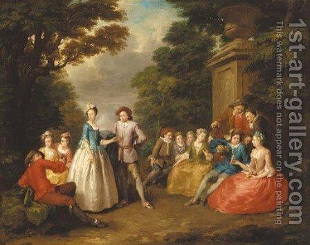 Elegant company in a garden by (after) Lancret, Nicolas - Reproduction Oil Painting