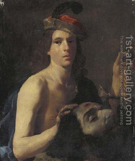 David with the head of Goliath by (after) Nicolas Tournier - Reproduction Oil Painting
