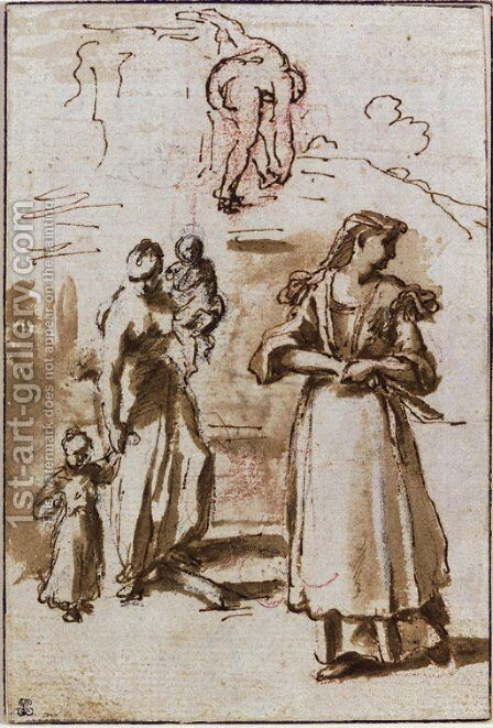 A woman holding two children, another woman, and a study of a nude woman by (after) Nicolas Vleughels - Reproduction Oil Painting