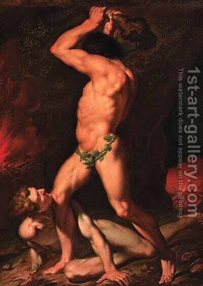 Hercules and Cacus by (after) Nicolas-Abraham Abilgaard - Reproduction Oil Painting