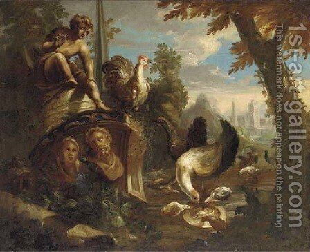 Poultry and other birds feeding amongst classical ruins by (after) Nicolo Casissa - Reproduction Oil Painting