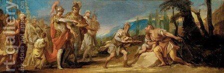 A mission from Rome offering a baton to Cincinnatus by (after) Noel Halle - Reproduction Oil Painting