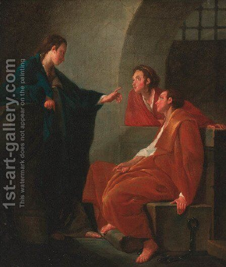 Joseph interpreting the dreams of Pharaoh's butler and baker by (after) Noel Halle - Reproduction Oil Painting