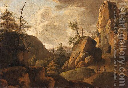 A rocky landscape with horsemen on a track by (after) Norbert Joseph Carl Grund - Reproduction Oil Painting