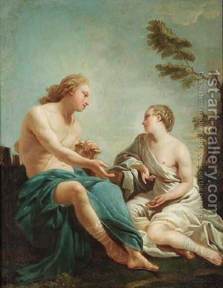 Apollo and the Cumean Sibyl by (after) Noel Halle - Reproduction Oil Painting