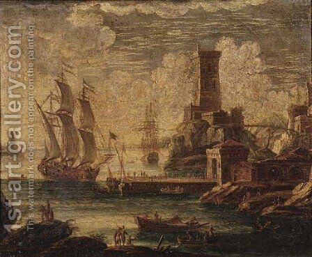 A Mediterranean coastal harbour with moored shipping by (after) Orazio Grevenbroeck - Reproduction Oil Painting