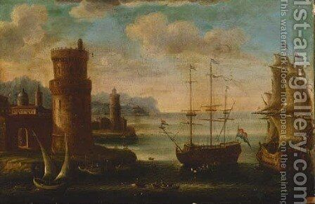 A Mediterranean harbour with moored men-o'-war by (after) Orazio Grevenbroeck - Reproduction Oil Painting