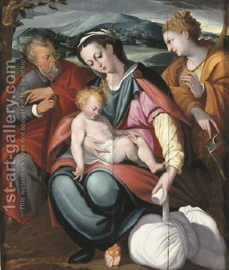 The Holy Family with Saint Catherine in a landscape by (after) Orazio Samacchini - Reproduction Oil Painting