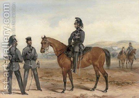 Cavalry regiments on exercises by (after) Orlando Norie - Reproduction Oil Painting