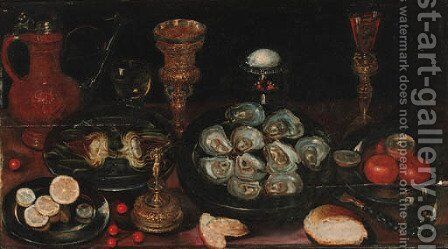 A laid table with salvers of oysters by (after) Osias, The Elder Beert - Reproduction Oil Painting