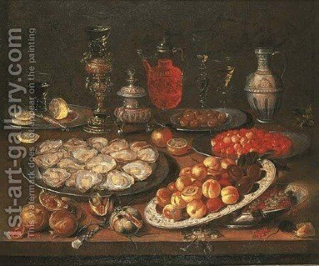 Oysters, peaches, cherries, redcurrants and olives on plates by (after) Osias, The Elder Beert - Reproduction Oil Painting