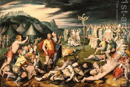 Moses and the Brazen Serpent by (after) Otto Van Veen - Reproduction Oil Painting