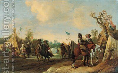 A military Encampment with Cavalrymen by (after) Palamedes Palamedesz. (Stevaerts, Stevens) - Reproduction Oil Painting
