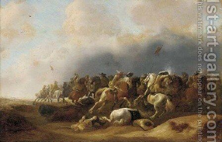 A cavalry engagement by (after) Anthonie Palamedesz. (Stevaerts, Stevens) - Reproduction Oil Painting